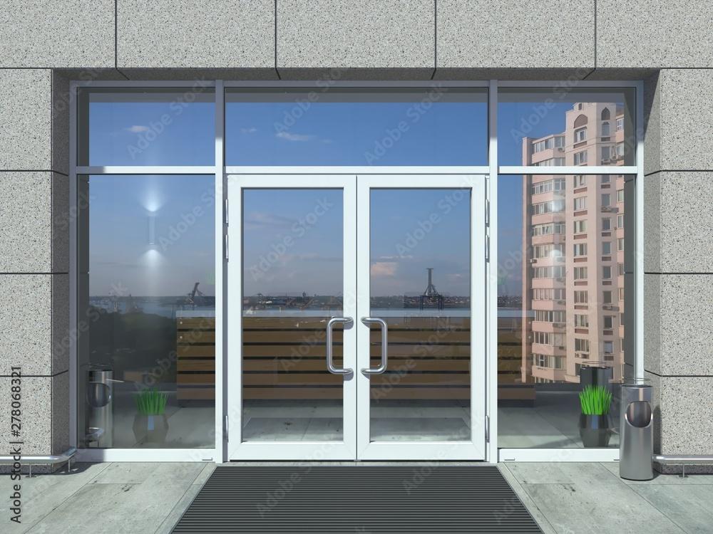 Fototapety, obrazy: Modern white office entrance door
