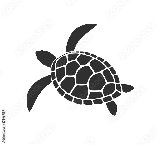 Fotografie, Obraz  Sea turtle logo. Isolated turtle on white background. Reptile
