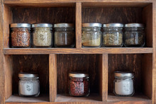 Spices On A Pantry Shelf
