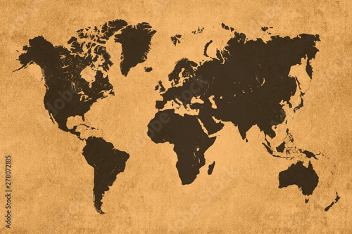 Photo Global map, black on coloured textured background