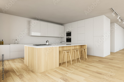 Photo White kitchen corner with bar and stools