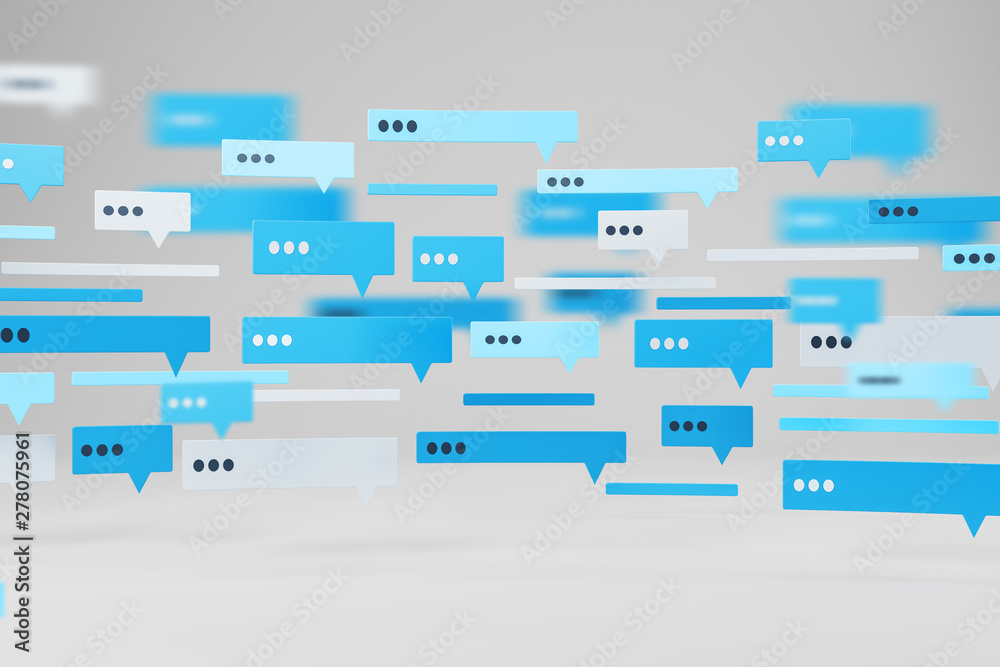 Fototapety, obrazy: Blue and white text message templates on white