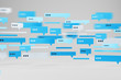 canvas print picture - Blue and white text message templates on white