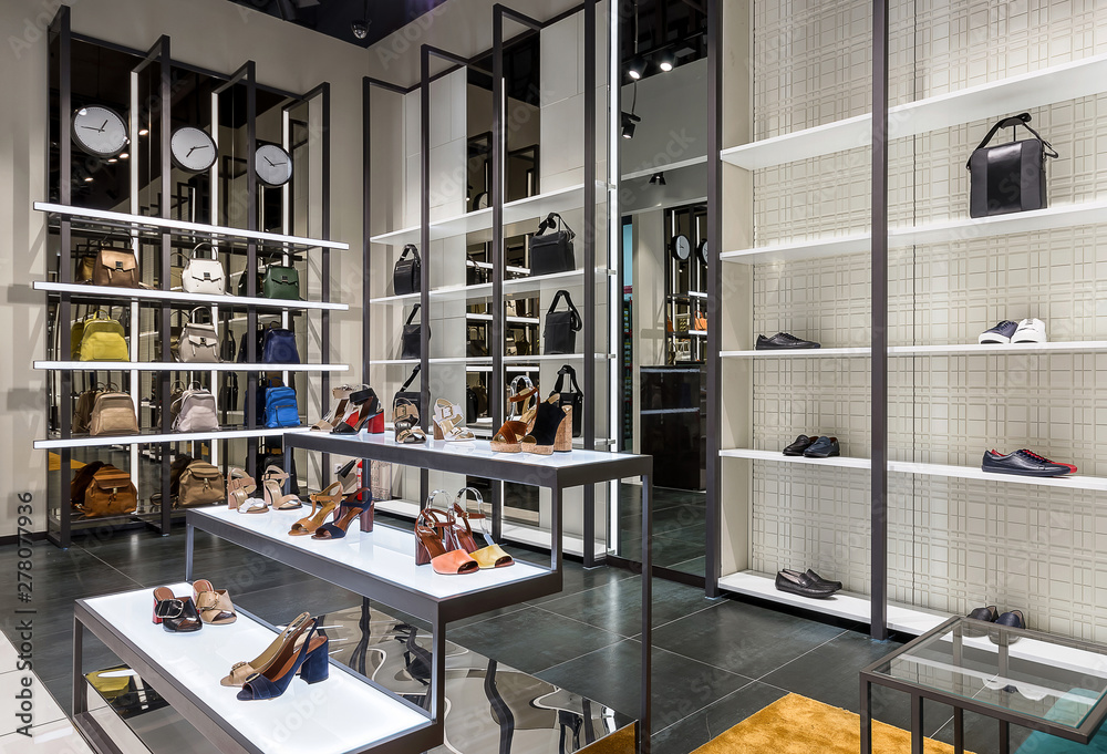 Fototapeta Bright large shoe store with new collection