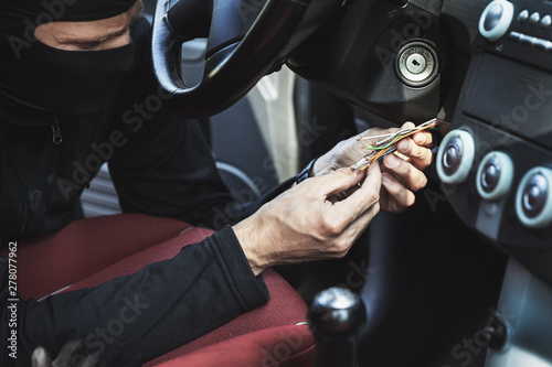Fényképezés car hotwire - thief try to steal a vehicle by connecting ignition wires