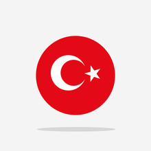 Turkey Flag Icon Sign Template Color Editable. Turkey National Symbol Vector Illustration For Graphic And Web Design.
