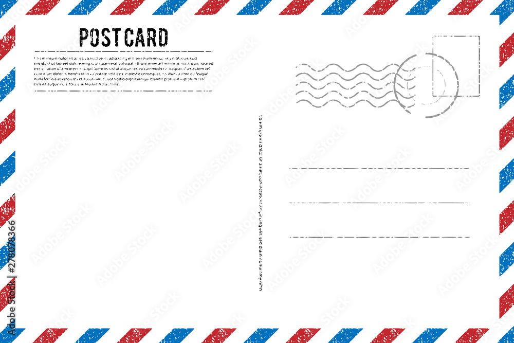Fototapeta Blank vintage post card template with stamp.vector illustration