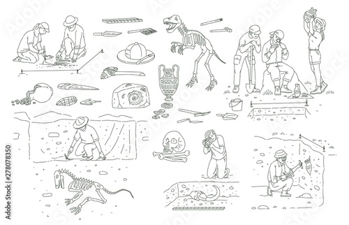 Set of archeology tools and people working on excavation outline sketch style Canvas Print