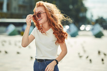 Beautiful Red-haired Girl Havi...