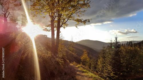 Montage in der Fensternische Braun Sunset in mountains - Przegibek, Small Beskid - Poland.