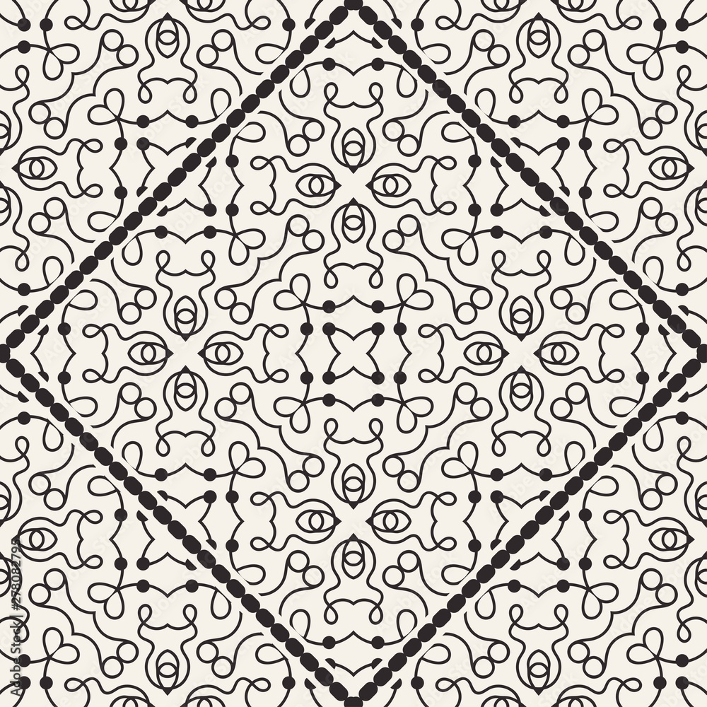 Black and white ornamental seamless pattern. Vintage retro ornate modern art deco background. Great for fabric and textile, wallpaper, packaging or any desired idea