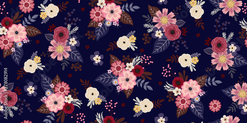 Seamless pattern with cute small flowers for summer dress in retro style
