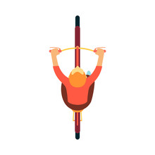 Top View Of Man Riding Bicycle, Aerial Shot Of Male Cartoon Character Biker With Red Hair