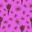 canvas print picture - Lavender flowers seamless pattern in hand drawn style