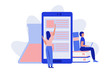 Woman looking for information on giant smartphone. Man reading a book leaning on stack of books. Giant flask. Online education concept. Flat vector illustration