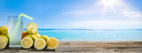 Summer holidays banner, Drink on wooden plank