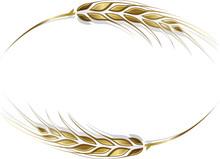 Gold Ripe Wheat Ears Frame, Bo...