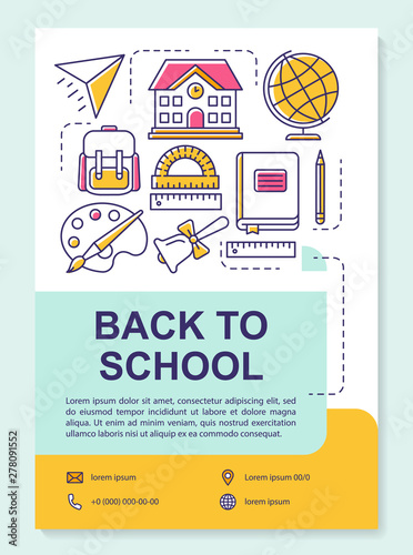 School accessories brochure template layout  Teaching materials