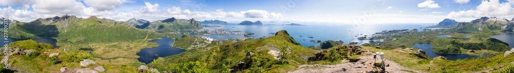 Fototapety, obrazy: 360 degree panorama from the mountain Tjeldbergtinden down to Svolvær and Kabelvåg, Austvågøya island, Lofoten islands, Norway