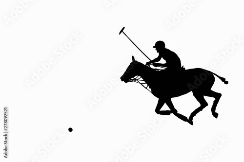 horse polo player astride the galloping horse with mallet in the hand raised fo Wallpaper Mural