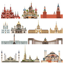 Vector Collection High Detailed Isolated City Halls, Landmarks, Cathedrals, Temples, Churches, Palaces And Other Skyline Elements