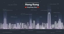 Hong Kong Cityscape Line Art Style Vector Detailed Illustration. Travel Background