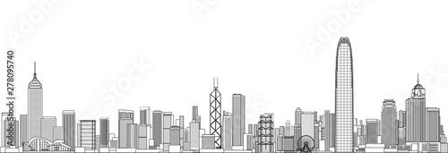 Photo Hong Kong cityscape line art style vector detailed illustration