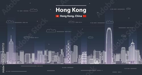 Canvas Print Hong Kong cityscape line art style vector detailed illustration