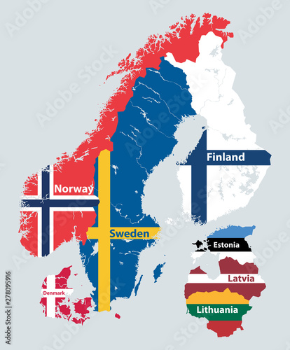Vászonkép Scandinavia and Baltic countries political detailed map mixed with national flags