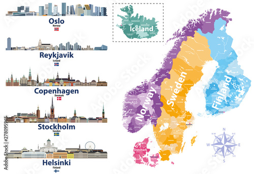 Scandinavian countries map with capital cities skylines icons ...