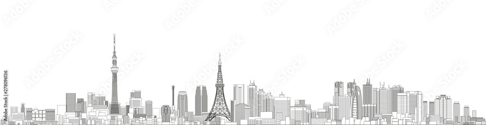 Fototapety, obrazy: Tokyo cityscape line art style vector detailed illustration. Travel background
