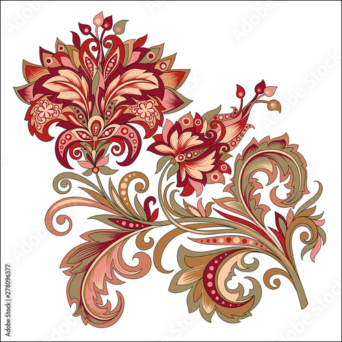 Foto op Canvas Abstract bloemen decorative vintage golden and red flower with patterns