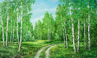 Panel Szklany Brzoza Summer rural landscape in Russia. Birchwood and country road. Original oil painting on canvas. Author s painting.