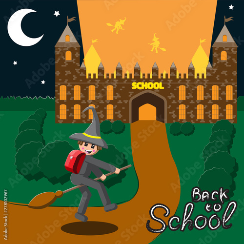 Photo Back to school, illustration of a medieval school night month schoolboy flying on a broom in a hat