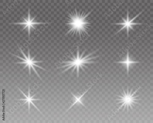 Stampa su Tela  Glowing lights effect, flare, sun and stars set