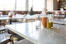 Glass On Marble Countertop In Restaurant