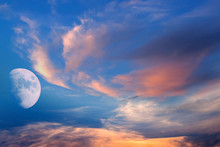 White Moon Over Stormy Clouds .   Dramatic Nature Background .  Full Moon Background .  Landscape . Eclipse Of The Moon