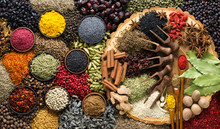 Aromatic Herbs And Spices Background. Seasoning As Ingredient For Delicious Food.