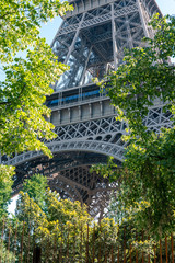 Panel Szklany Architektura Eiffel Tower, Paris, France - upward view, peeking through foliage, with recent security fence