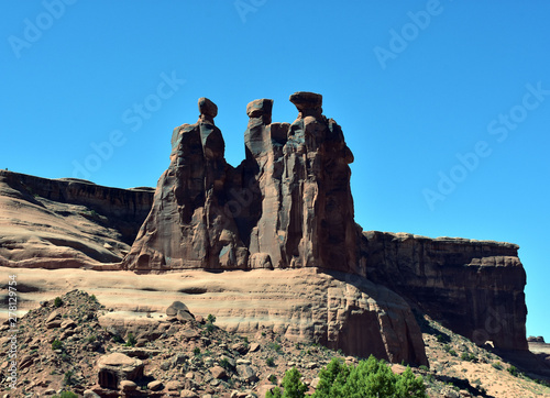 Three Sisters rock formation in Arhces NP Wallpaper Mural