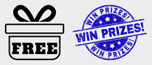 Vector Contour Free Gift Icon And Win Prizes! Seal Stamp. Blue Rounded Distress Seal Stamp With Win Prizes! Caption. Black Isolated Free Gift Pictogram In Contour Style.