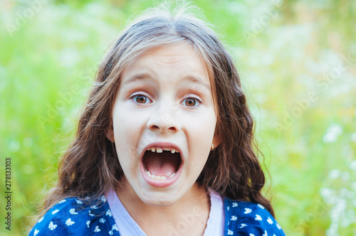 Pinturas sobre lienzo  Little adorable girl screaming in the field in nature, daylight, summer