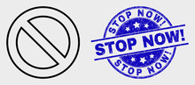 Vector Linear Forbidden Icon And Stop Now! Seal Stamp. Blue Rounded Grunge Seal Stamp With Stop Now! Message. Black Isolated Forbidden Icon In Linear Style.