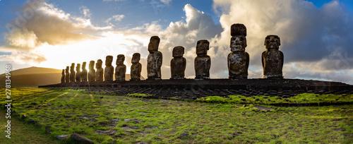 EASTER ISLAND Moais - Ahu Tongariki on rise of sun. Chile Wallpaper Mural