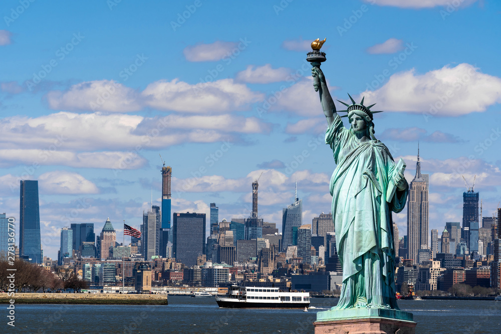 Fototapety, obrazy: The Statue of Liberty over the Scene of New york cityscape river side which location is lower manhattan,Architecture and building with tourist concept