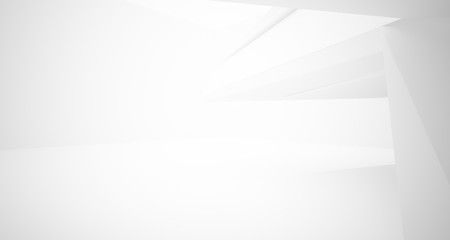 Abstract white minimalistic architectural interior with window. 3D illustration and rendering.