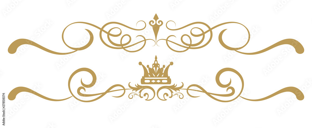 Fototapety, obrazy: Design elements on white background, ornament royal style, antiques, vintage, vector illustration