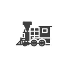 Retro Train Vector Icon. Old Steam Locomotive Filled Flat Sign For Mobile Concept And Web Design. Vintage Locomotive Glyph Icon. Symbol, Logo Illustration. Vector Graphics