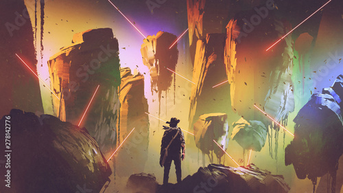 futuristic adventurer looking at the laser trap in floating rocks, digital art style, illustration painting