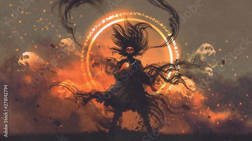 the angry sorcerer of evil spirits holds a magic gem cast a spell, digital art style, illustration painting